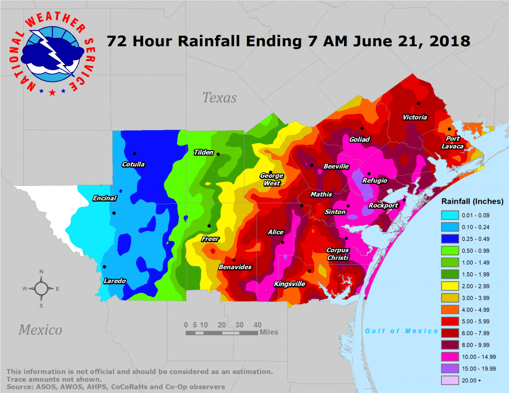 South Texas Heavy Rain And Flooding Event: June 18-21, 2018 - Map Of Flooded Areas In Texas