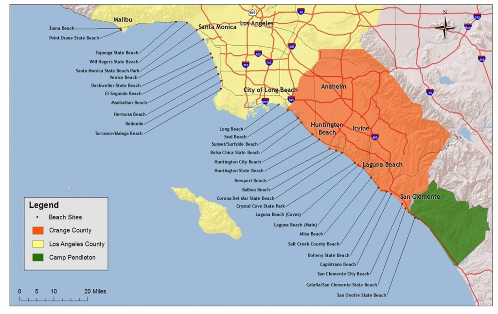 Southern California Map Of Beaches – Map Of Usa District - Map Of Southern California Beaches