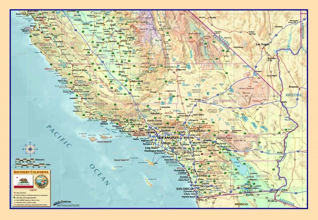 Southern California Wall Map - The Map Shop - California Atlas Map
