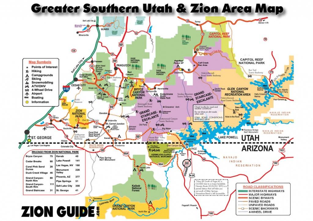 Southern Utah & Zion Area Map | Utah State & National Parks Guide - Printable Map Of Utah National Parks