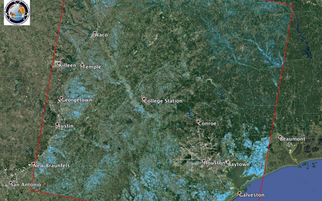 Space Images | Extent Of Texas Flooding Shown In New Nasa Map - Google Maps Beaumont Texas