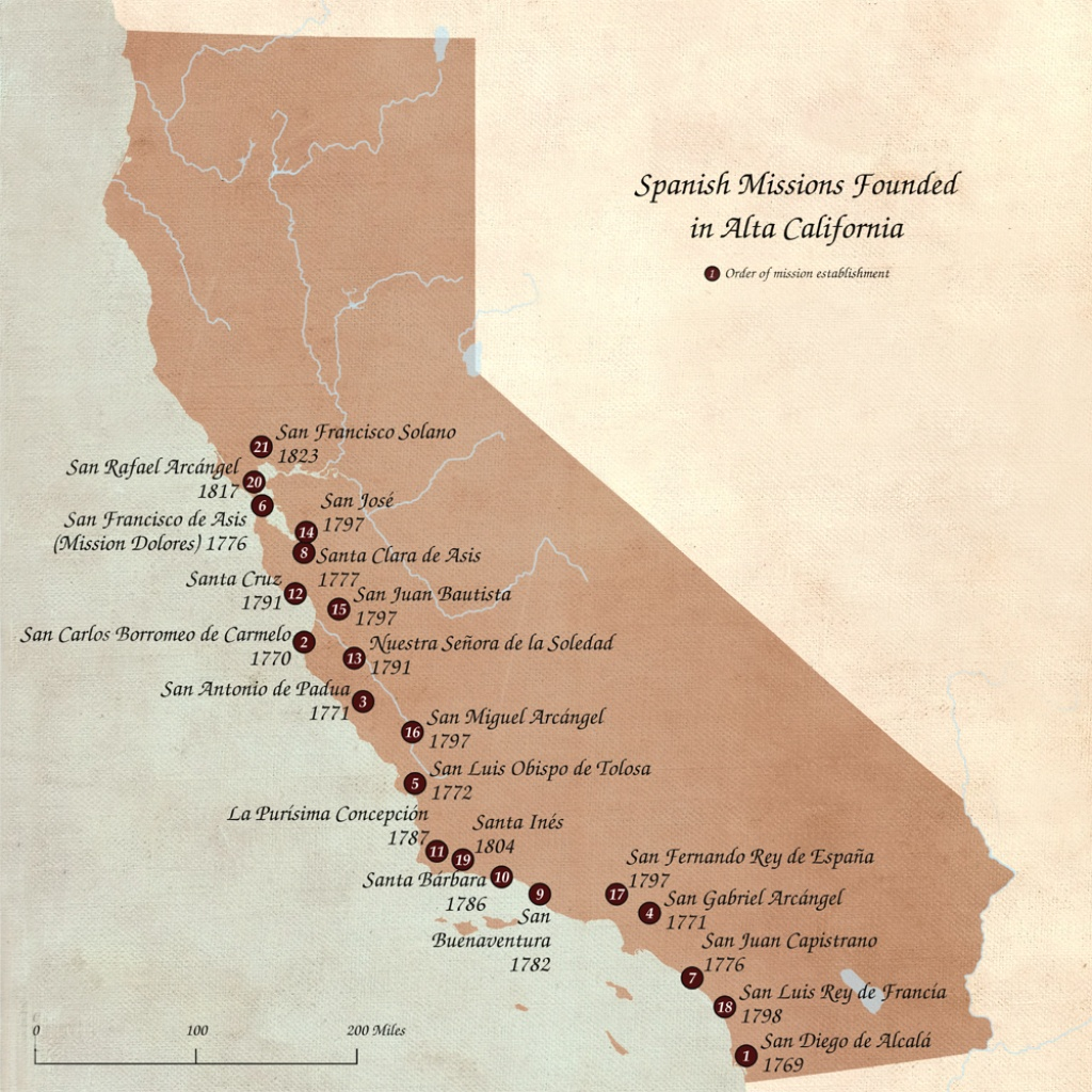 Spanish Missions In California – Legends Of America - California Missions Map