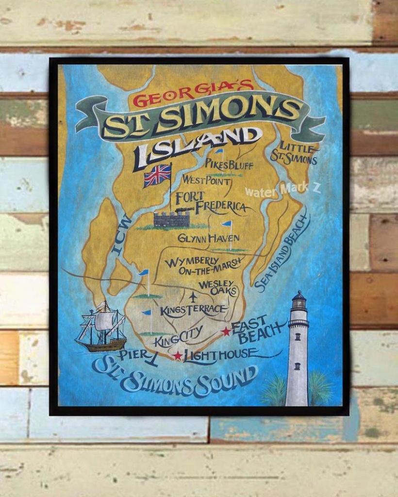 St. Simons Island Map Print From An Original Hand Lettered | Etsy - Printable Map Of St Simons Island Ga