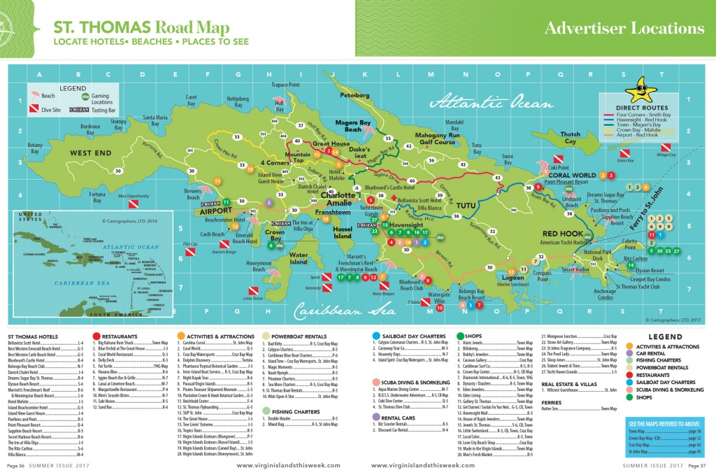 St. Thomas Island Road Map - Virgin Islands This Week - Printable Map Of St John Usvi