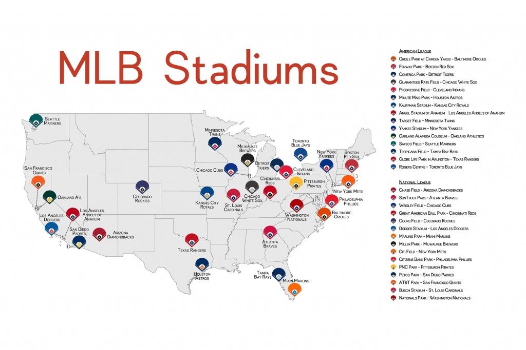 Stadium Map Stadium Checklist Baseball Stadiums Map Mlb | Ballpark - Printable Map Of Mlb Stadiums