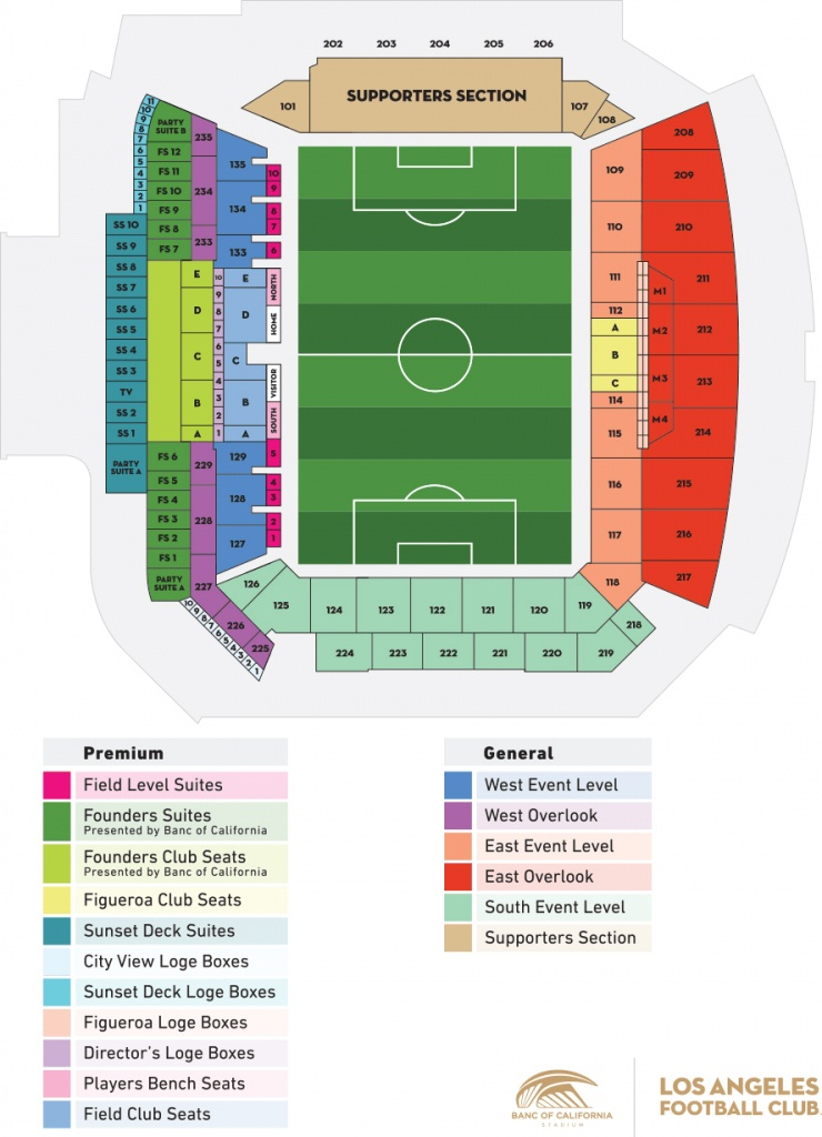 Stadium Seating Map   Los Angeles Football Club - Banc Of California Stadium Map