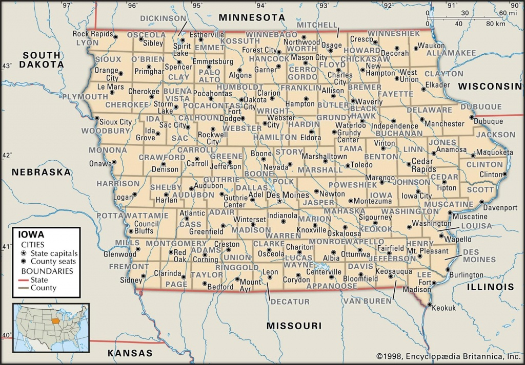 State And County Maps Of Iowa - Printable Map Of Iowa