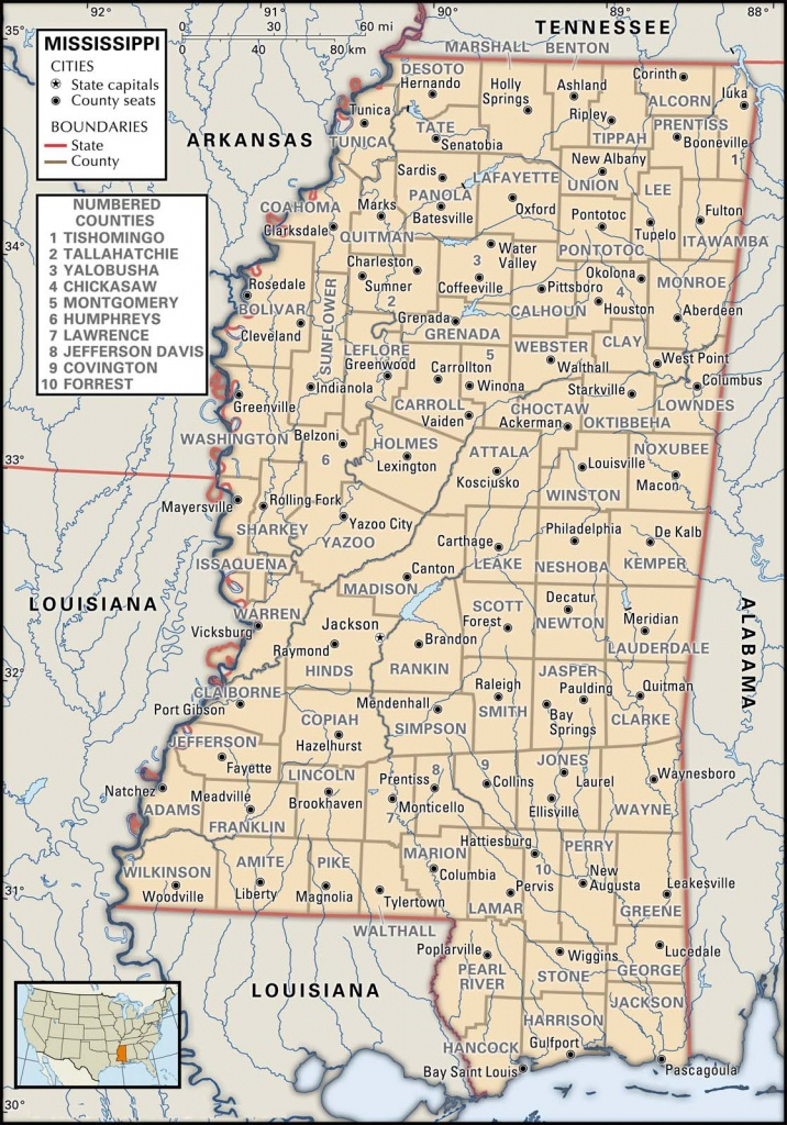 Printable Map Of Mississippi
