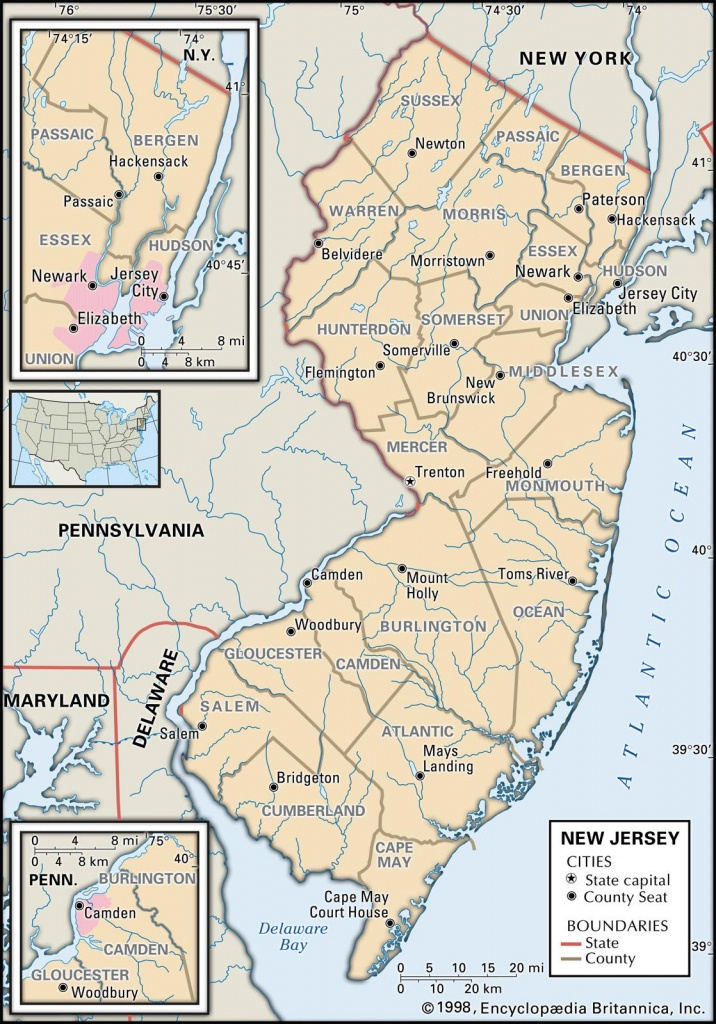 State And County Maps Of New Jersey - Printable Map Of Monmouth County Nj