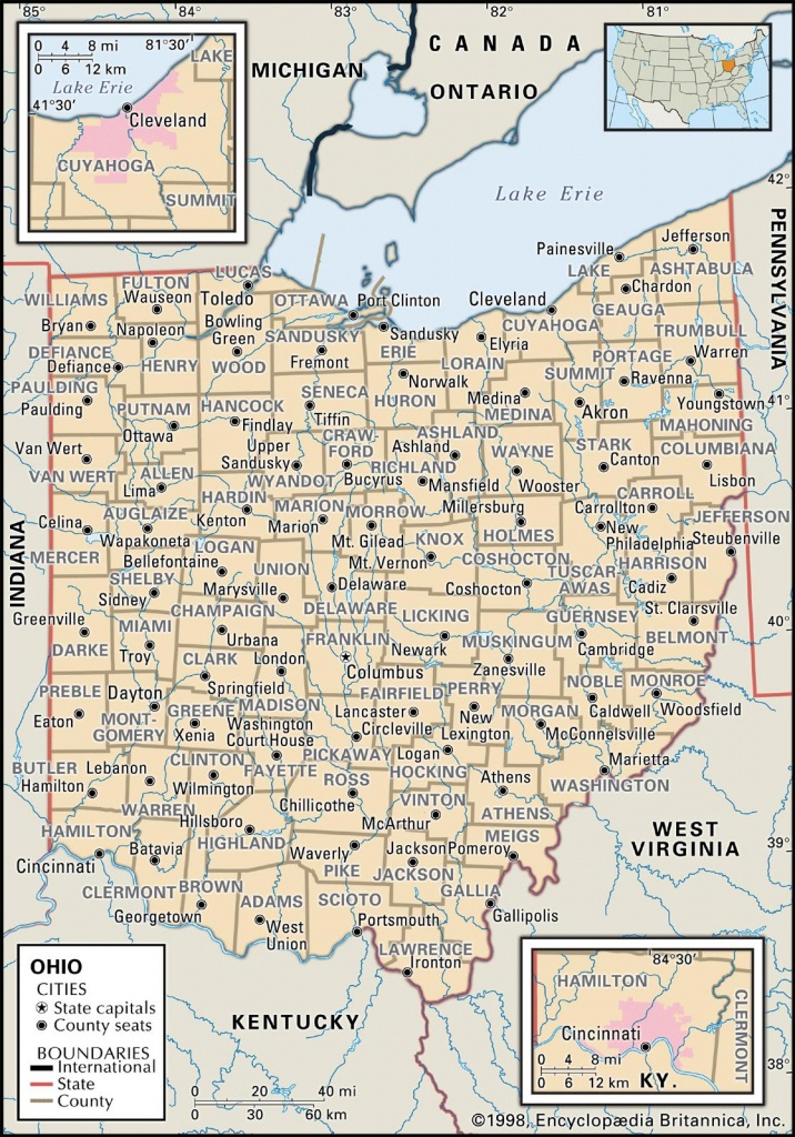 State And County Maps Of Ohio - Printable Map Of Ohio