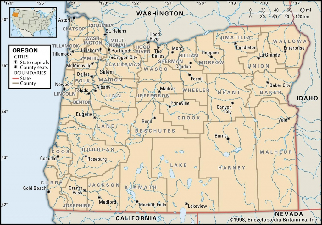State And County Maps Of Oregon - California Oregon Washington Road Map
