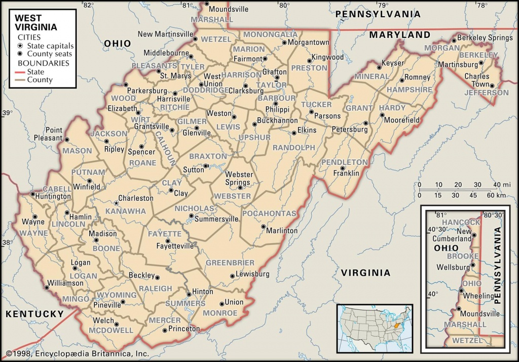 State And County Maps Of West Virginia - Printable Map Of West Virginia