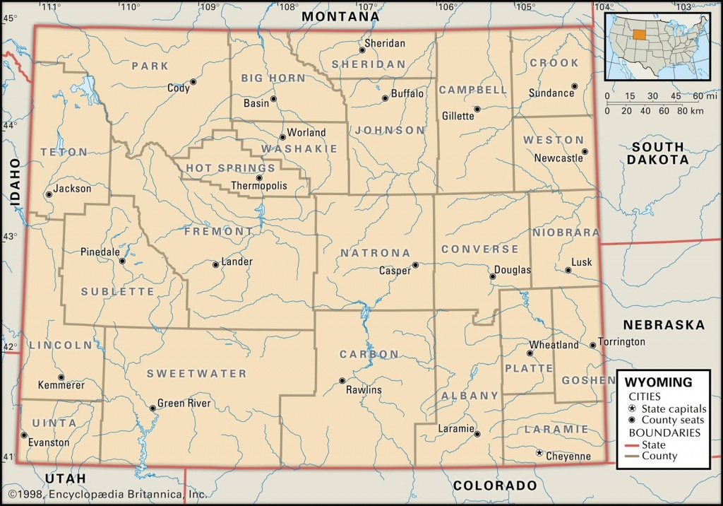 State And County Maps Of Wyoming - Wyoming State Map Printable