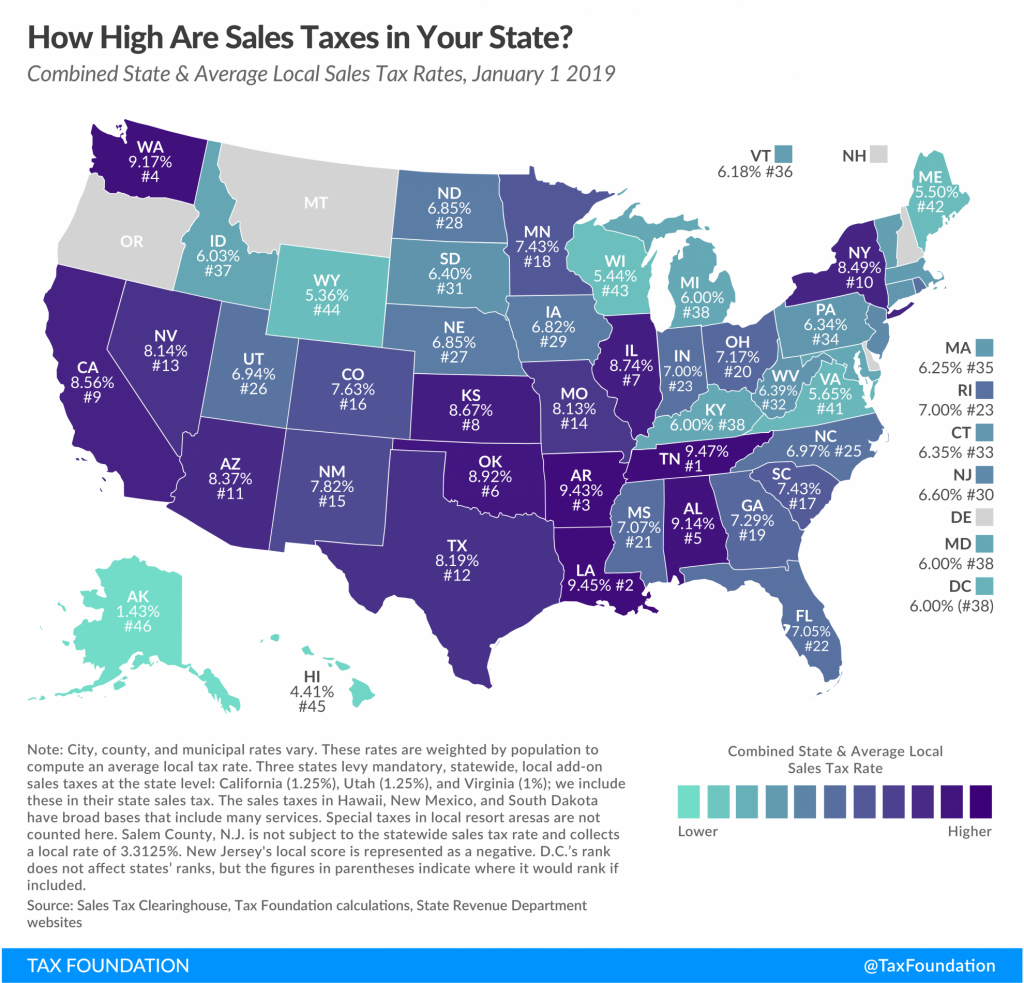 State And Local Sales Tax Rates, 2019   Tax Foundation - Texas Sales Tax Map