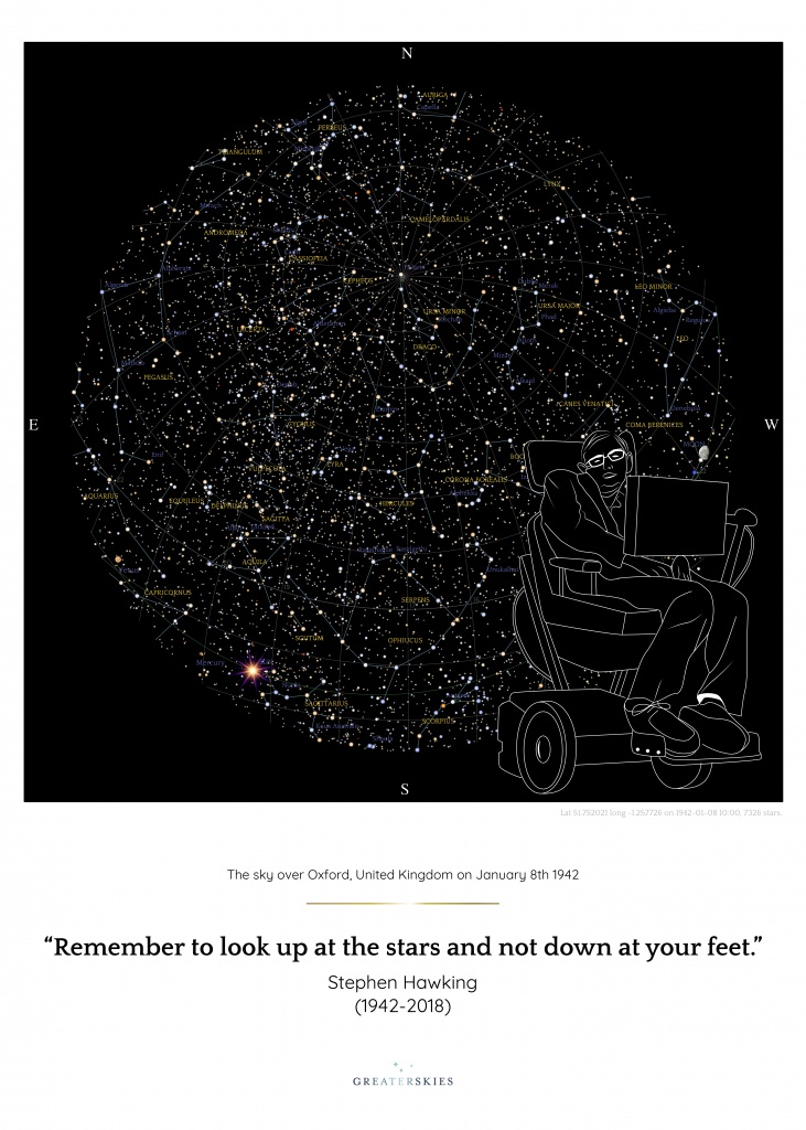 Stephen Hawking Commemorative Star Map - Greaterskies - Free Printable Star Maps