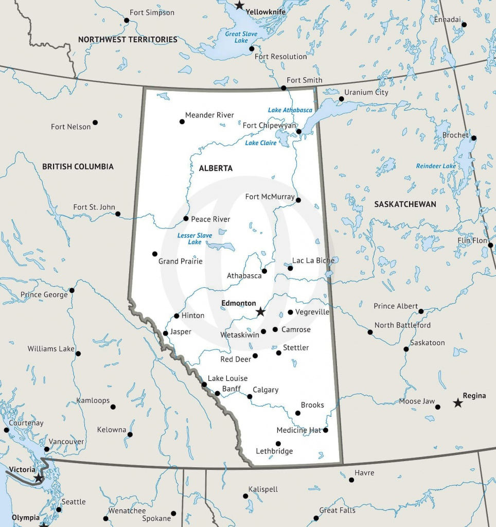 Stock Vector Map Of Alberta   One Stop Map - Printable Map Of Alberta
