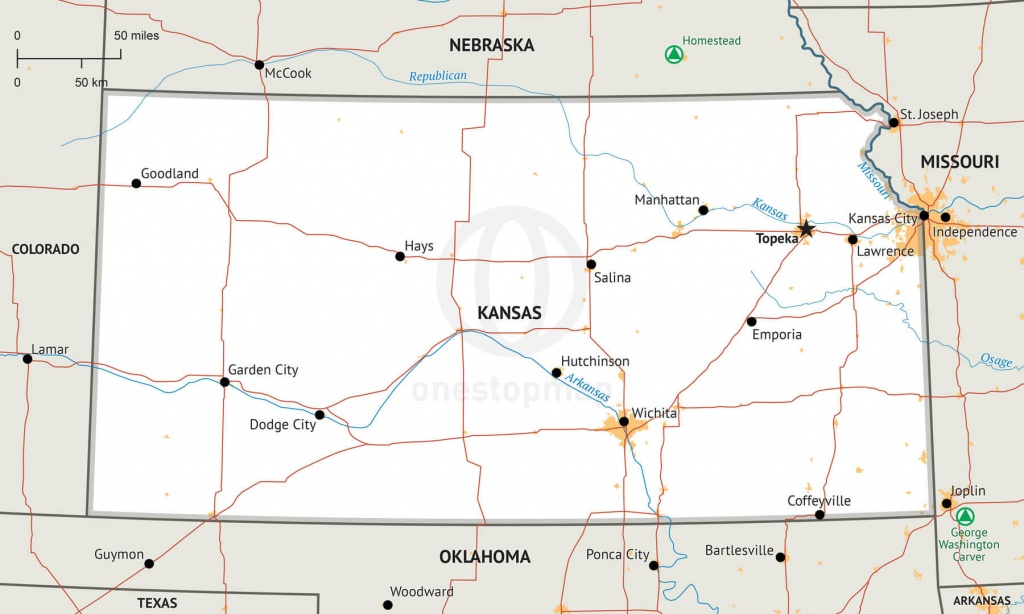 Stock Vector Map Of Kansas | One Stop Map - Printable Map Of Kansas