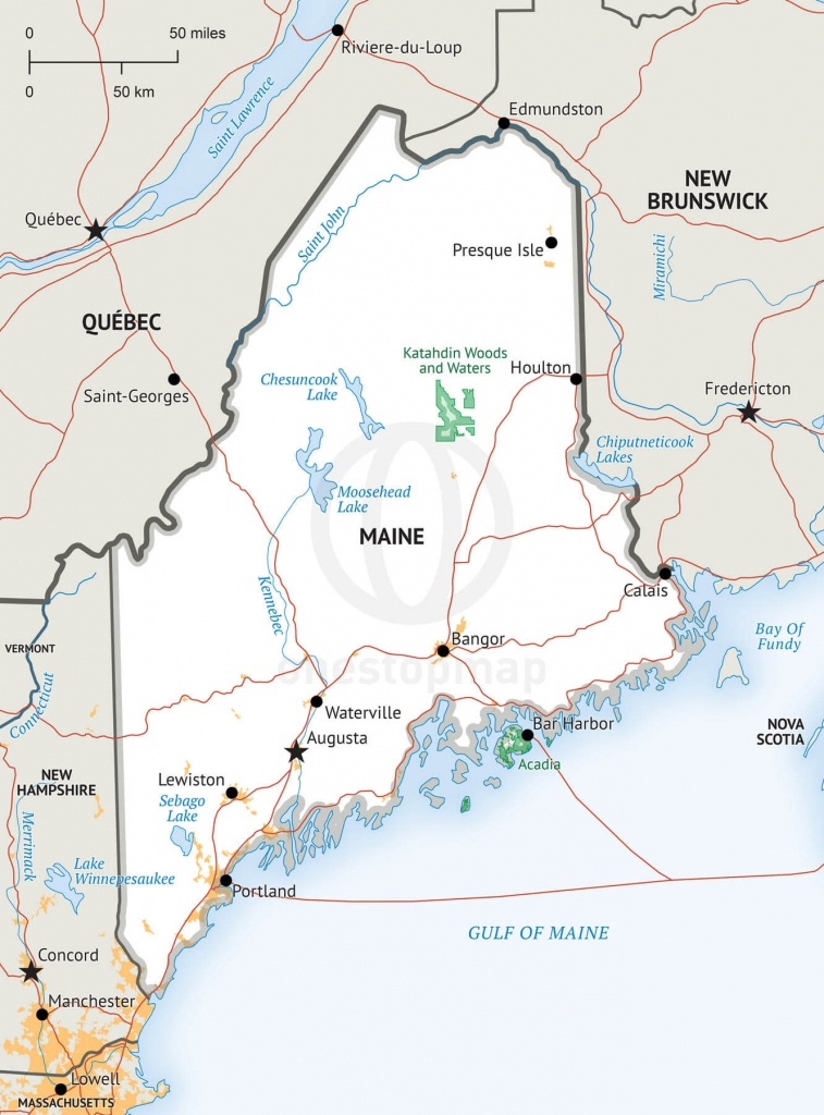 Stock Vector Map Of Maine | One Stop Map - Printable Map Of Maine
