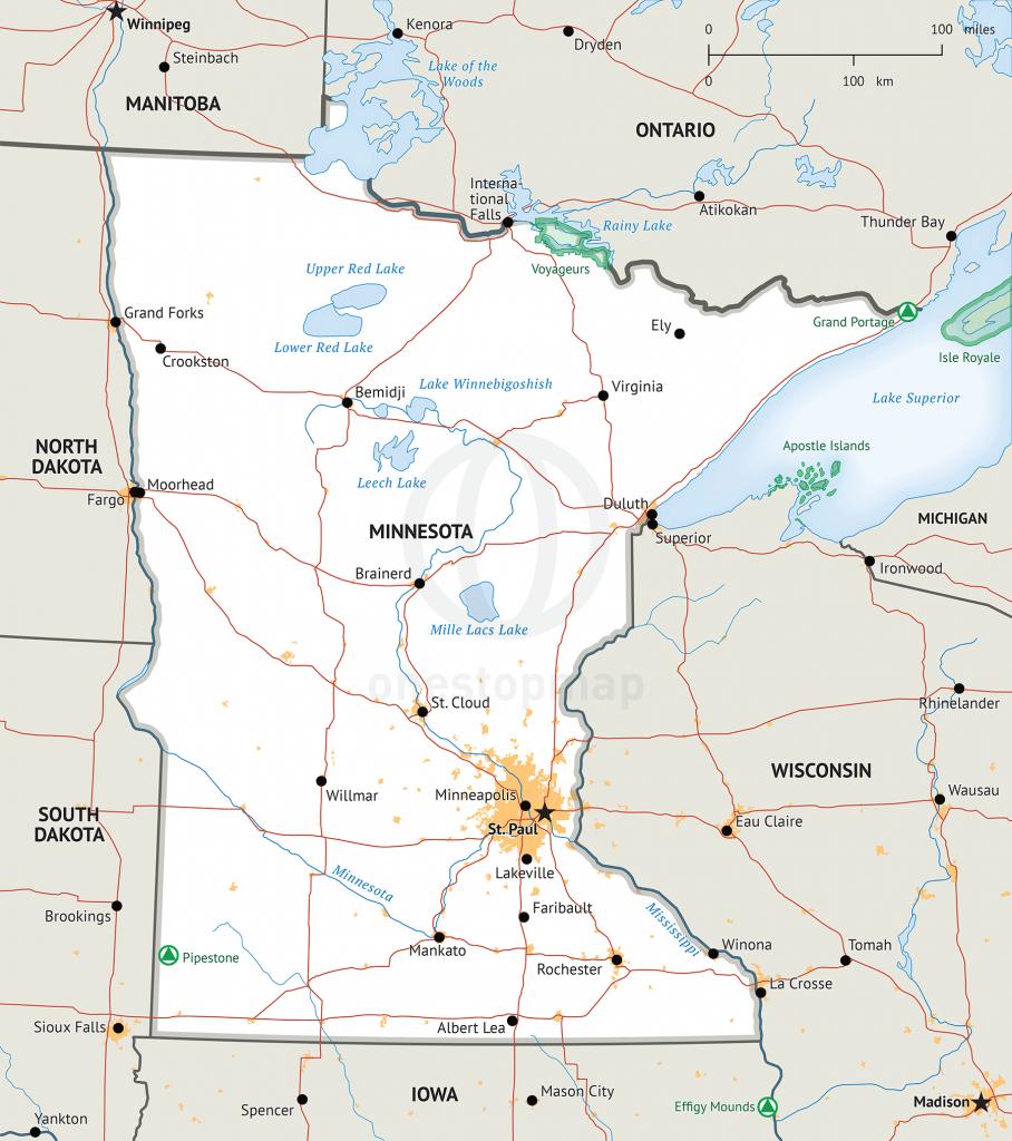 Stock Vector Map Of Minnesota | One Stop Map - Printable Map Of Minnesota