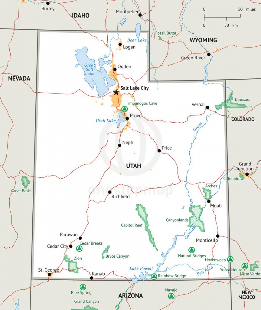 Stock Vector Map Of Utah | One Stop Map - Printable Map Of Utah