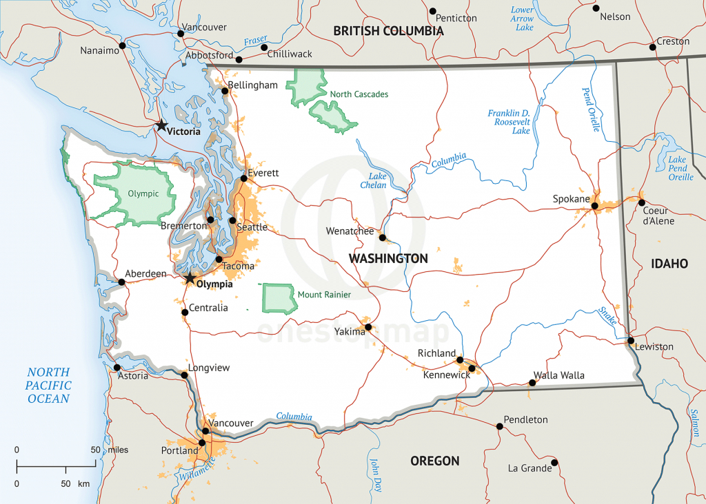 Stock Vector Map Of Washington | One Stop Map - Printable Map Of Washington State