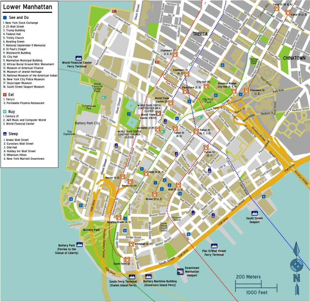 Street Map Of Lower Manhattan - Map Of Lower Manhattan With Street - Printable Map Of Lower Manhattan Streets