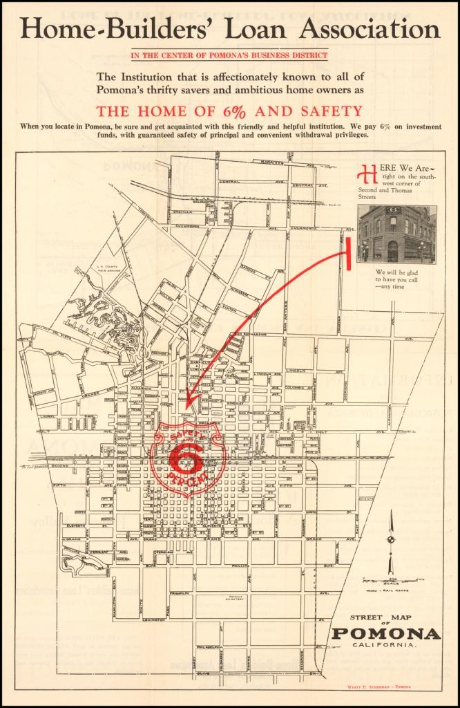 Street Map Of Pomona California - Barry Lawrence Ruderman Antique - Ono California Map