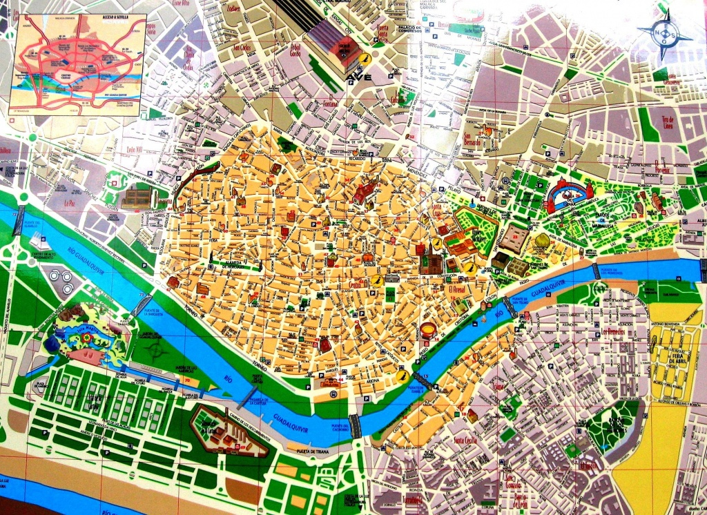 Streets Map Of Seville With Town Sights - Spain | Sevilla | Seville - Printable Tourist Map Of Seville