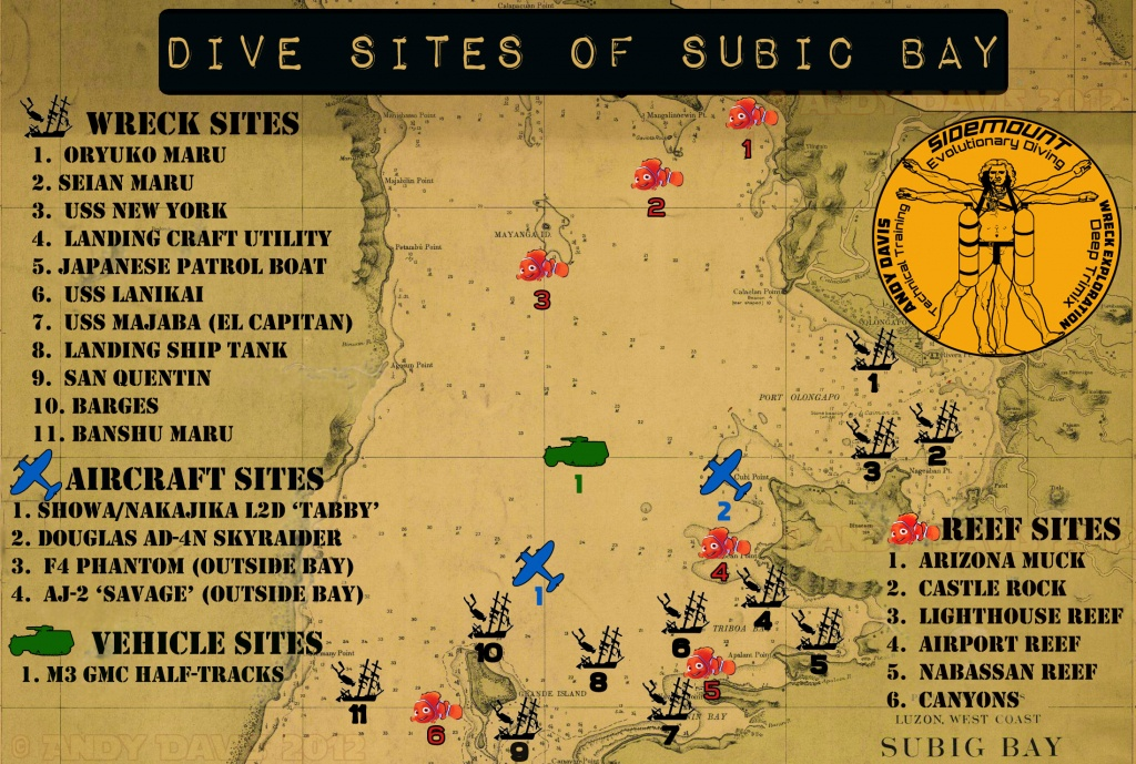 Subic Bay Dive Sites | Map And Descriptions | Wreck Diving - Florida Wreck Diving Map