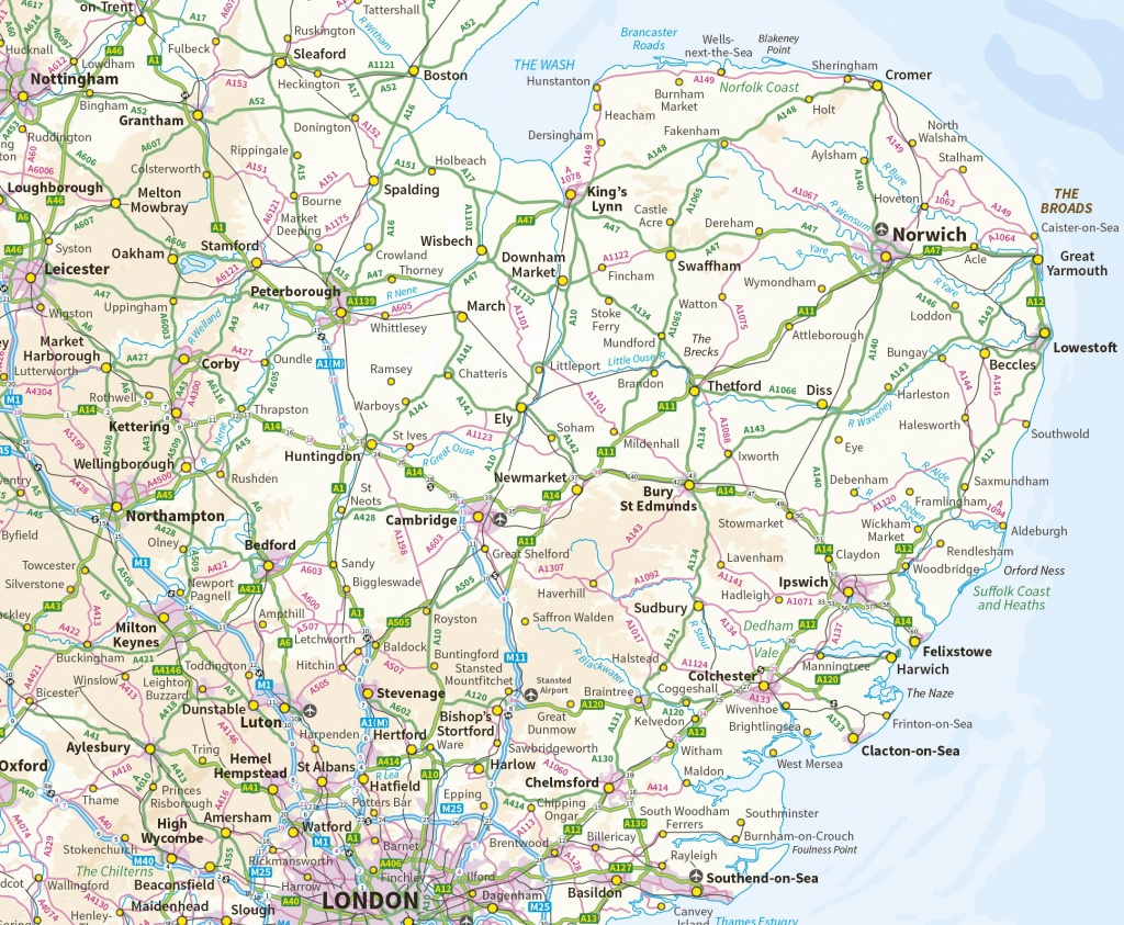 Suffolk Maps - Printable Map Of East Anglia