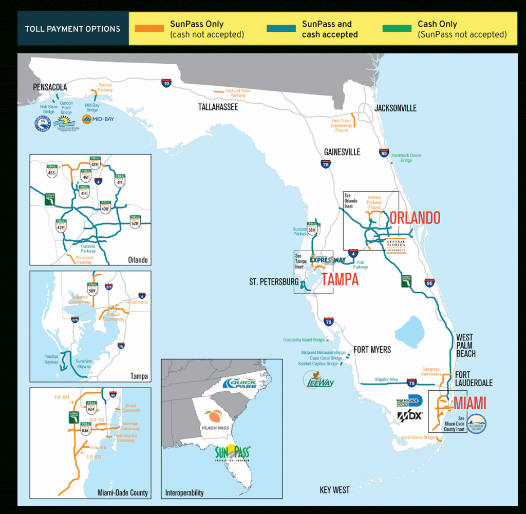 Sunpass : Tolls - Road Map Of South Florida