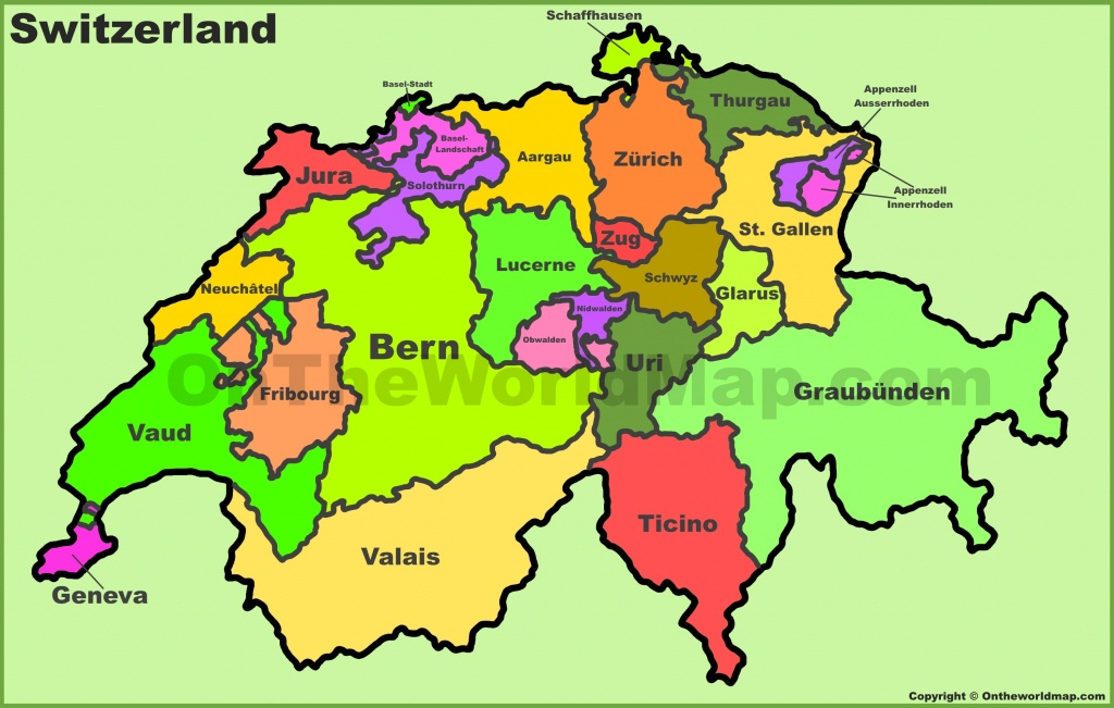 Switzerland Political Map - Printable Map Of Switzerland