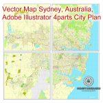 Sydney, Australia In Adobe Pdf, Printable Vector Street 4 Parts City   Printable Street Map Of Port Macquarie