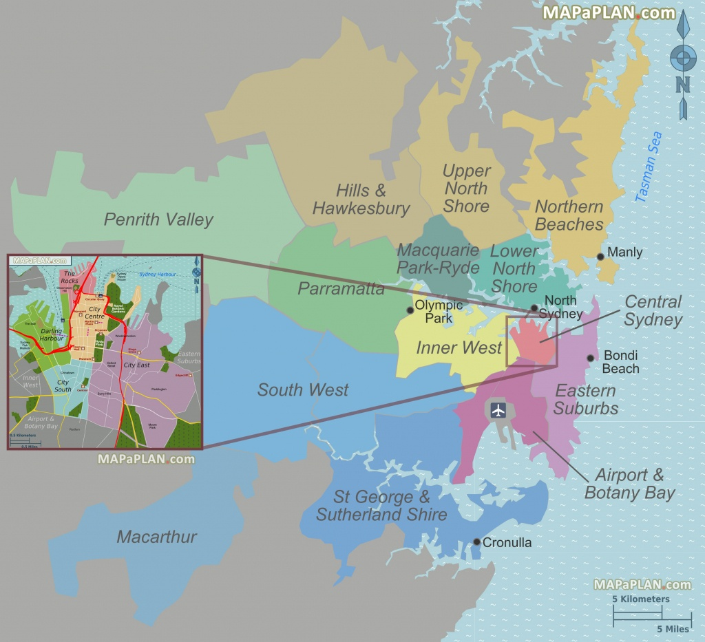 Sydney Map - Greater Sydney & Central Area Suburbs, District Zones - Printable Map Of Sydney Suburbs