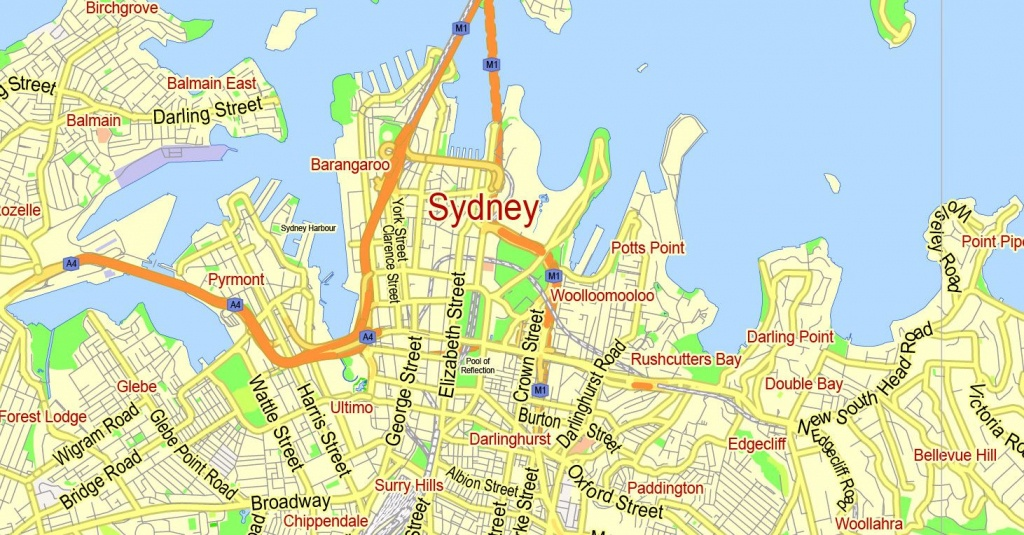 Sydney Vector Map Australia Exact Printable City Plan Editable Adobe - Sydney City Map Printable