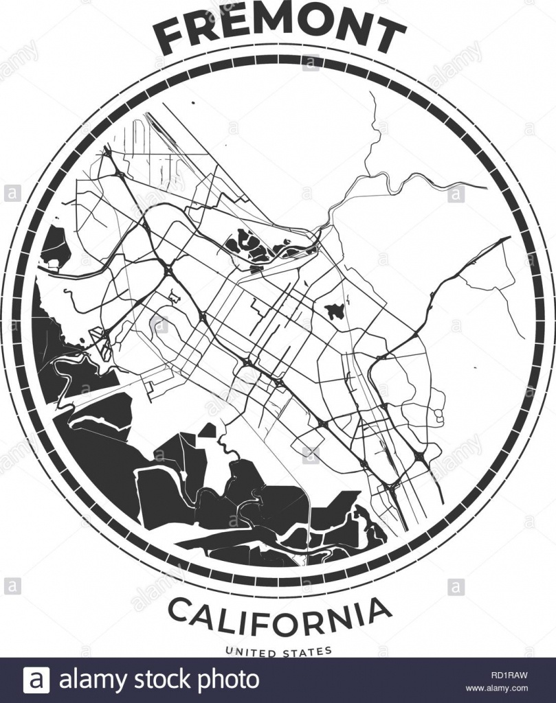 T-Shirt Map Badge Of Fremont, California. Tee Shirt Print Typography - Fremont California Map