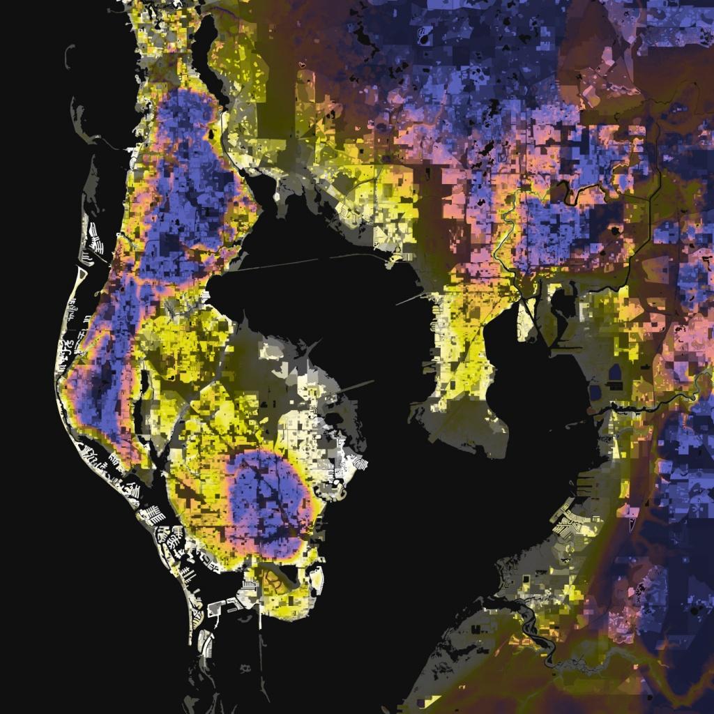 Tampa-St. Petersburg, Florida – Elevation And Population Density, 2010 - Florida Sea Level Map
