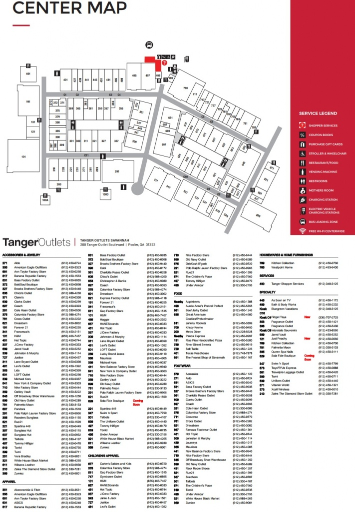 Tanger Outlets Savannah - Store List, Hours, (Location: Pooler - Tanger Outlets Texas City Stores Map