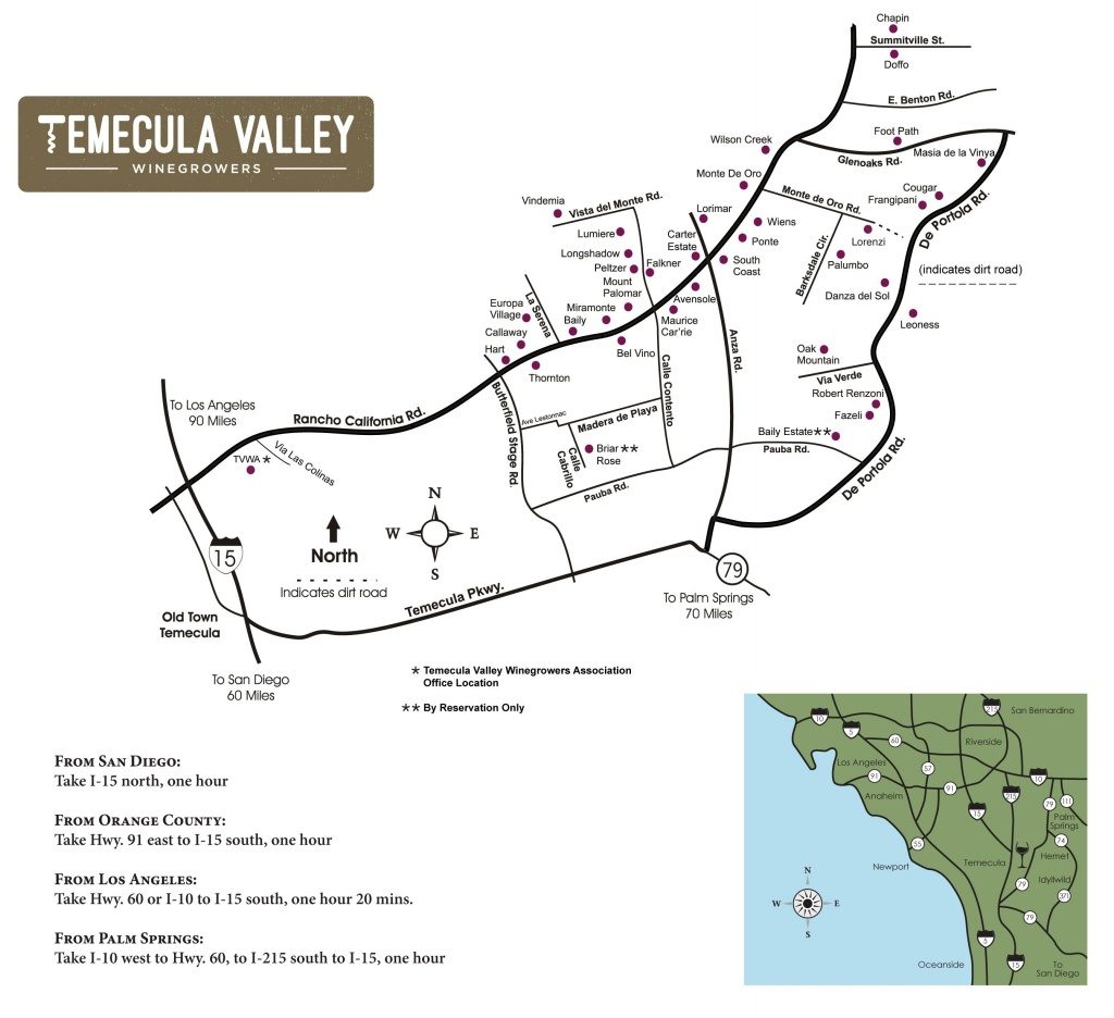 Temecula Valley Winegrowers Association - Winery Map   Temecula - Temecula Winery Map Printable