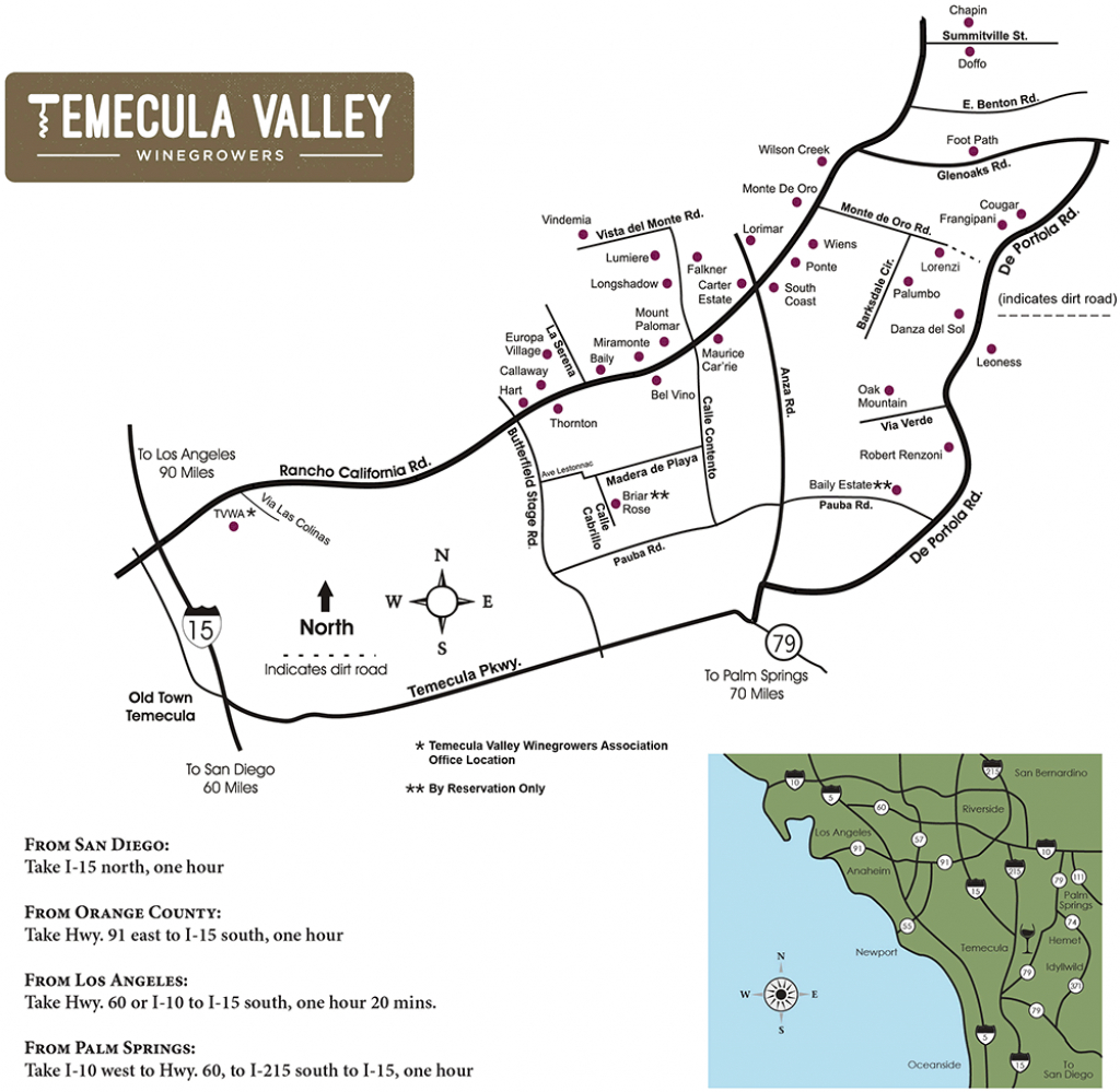 Temecula Valley Winegrowers Association - Winery Map   Wineries - Temecula Winery Map Printable