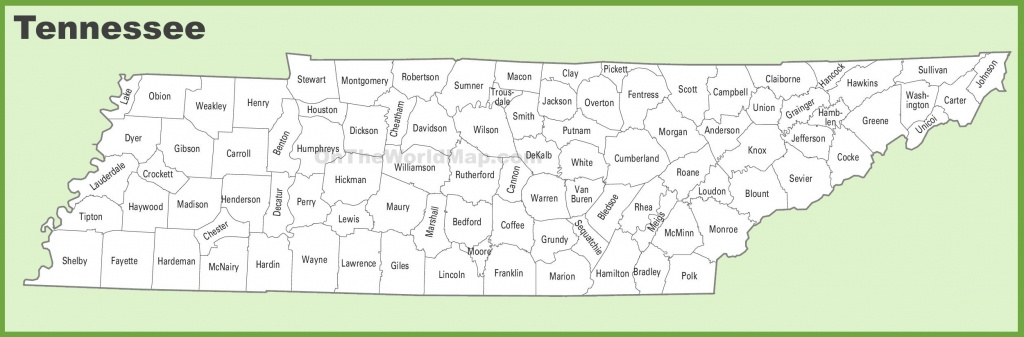 Tennessee County Map - State Map Of Tennessee Printable