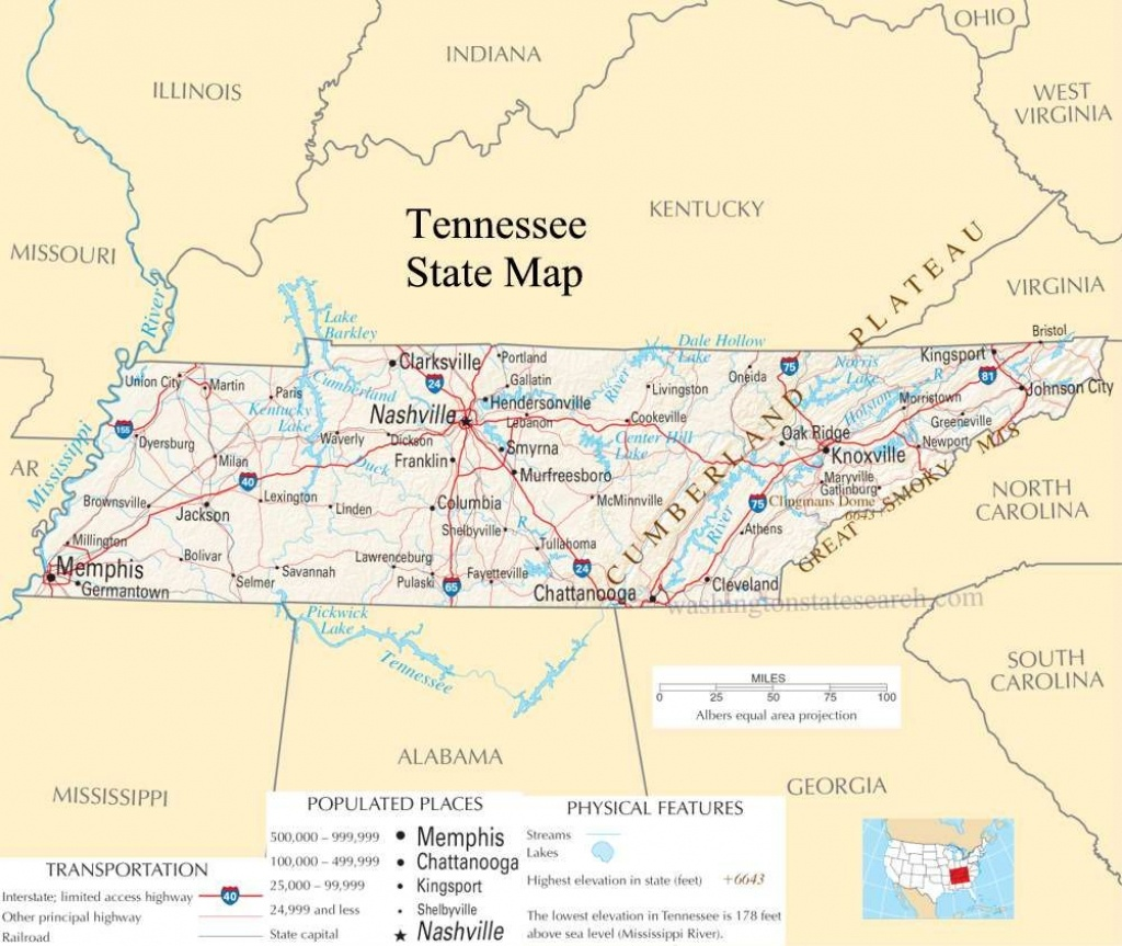Tennessee Pictures | Tennessee State Map - A Large Detailed Map Of - State Map Of Tennessee Printable
