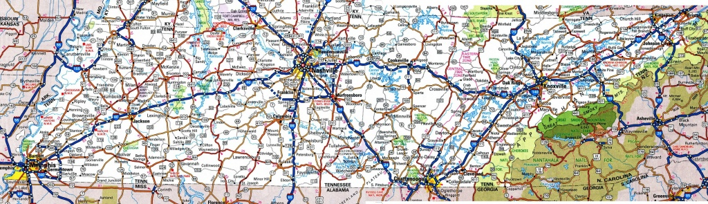 Tennessee Road Map - Printable Map Of Tennessee