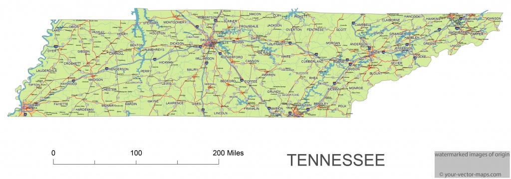 Tennessee State Route Network Map. Tennessee Highways Map. Cities Of - State Map Of Tennessee Printable