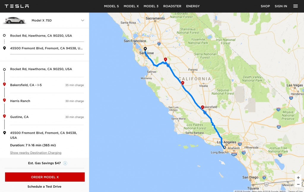 """Tesla Launches """"ev Trip Planner"""" Tool With Map Of Supercharger Locations - California Electric Car Charging Stations Map"""