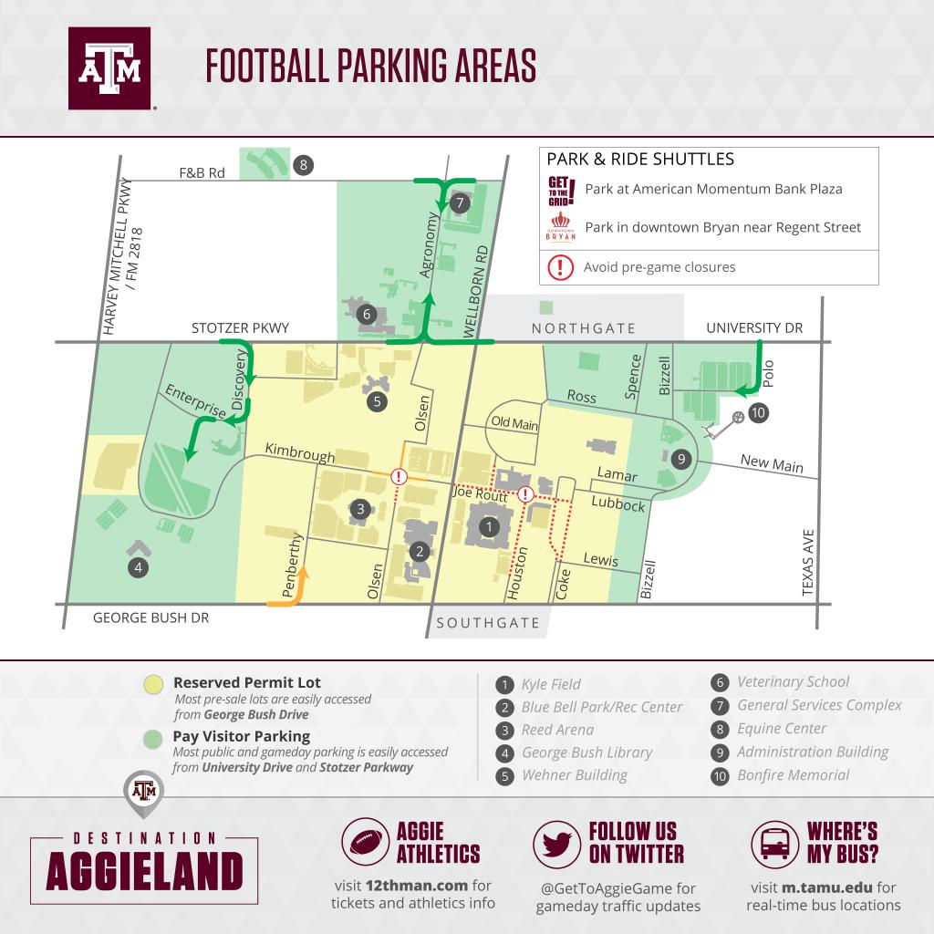 Texas A&m Football Gameday - 12Thman - Texas A&m Parking Lot Map