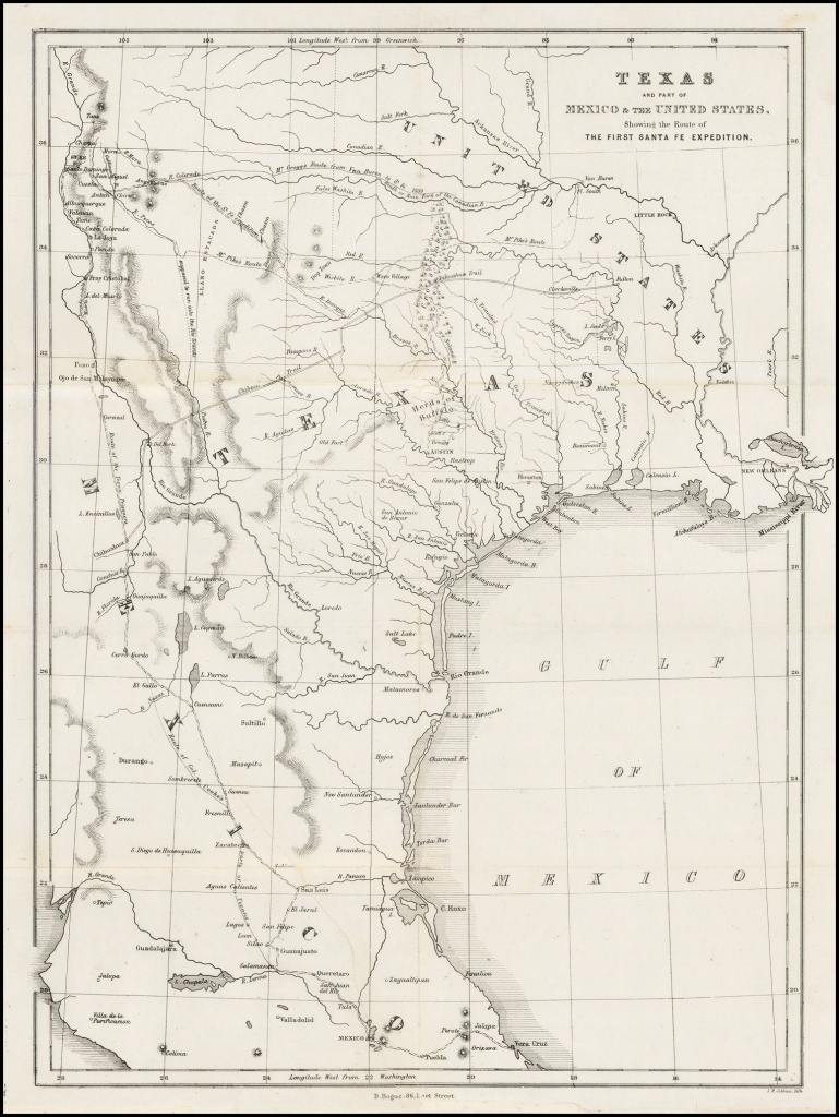 Texas And Part Of Mexico & The United States, Showing The Route Of - Map Of Texas Showing Santa Fe
