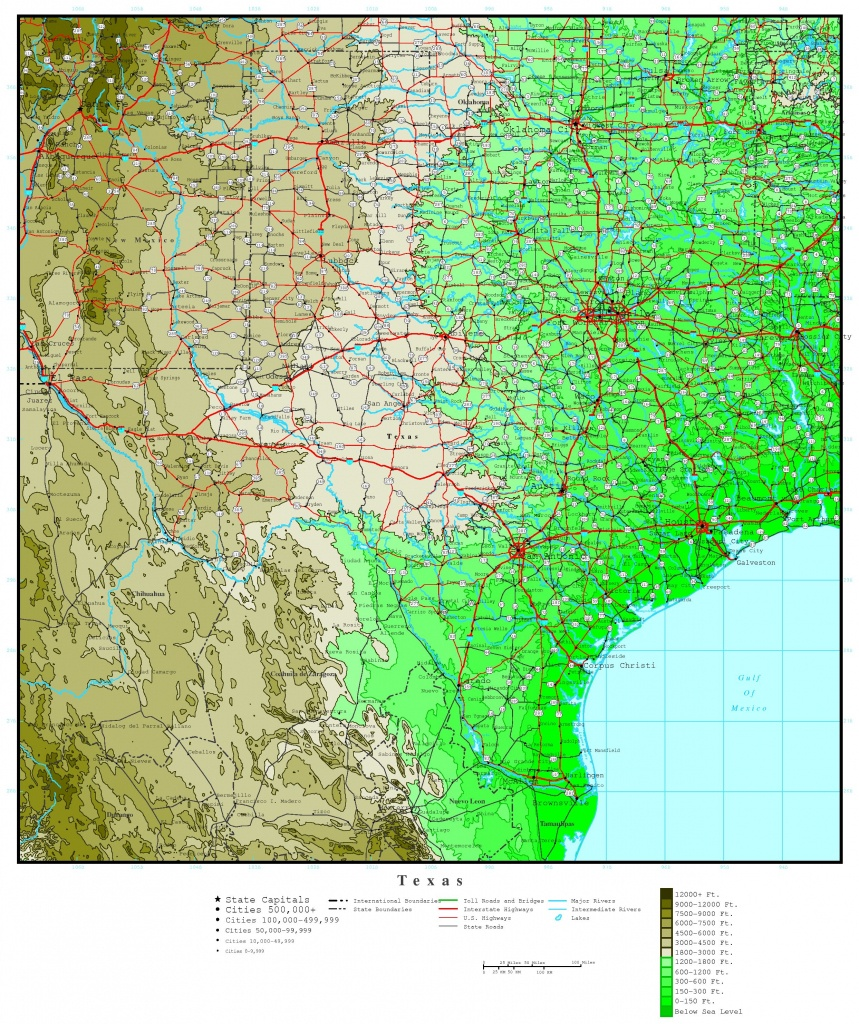 Texas Elevation Map - Topographical Map Of Texas Hill Country