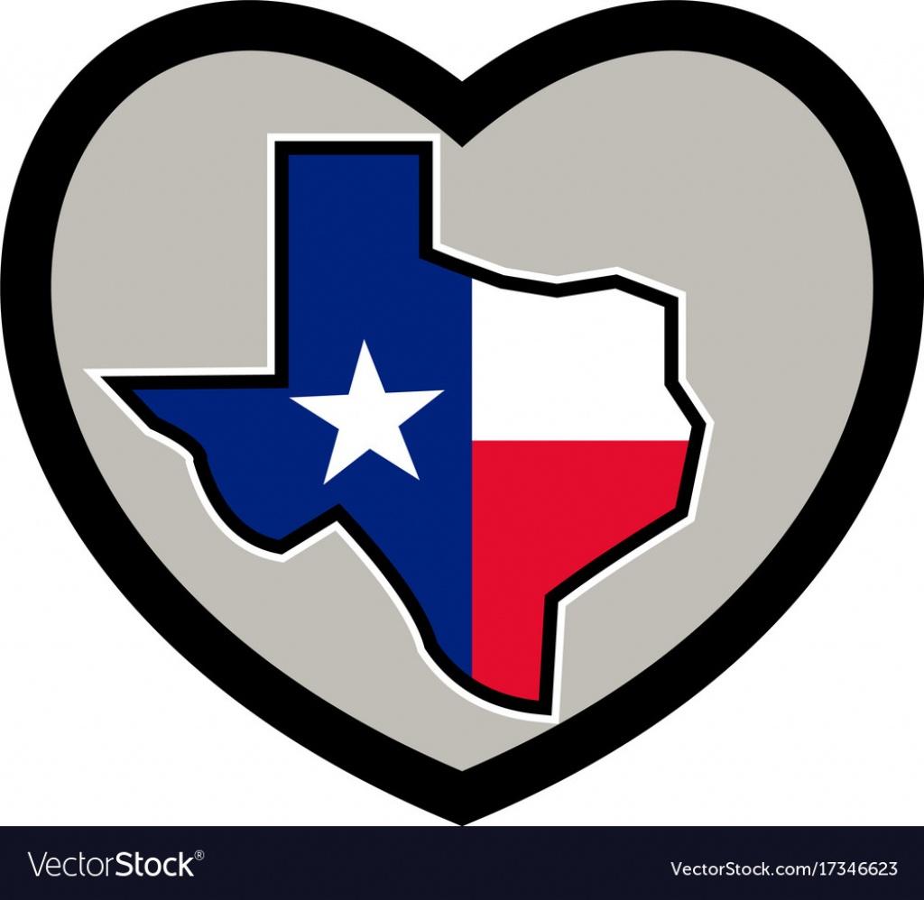 Texas Flag Map Inside Heart Icon - Texas Flag Map