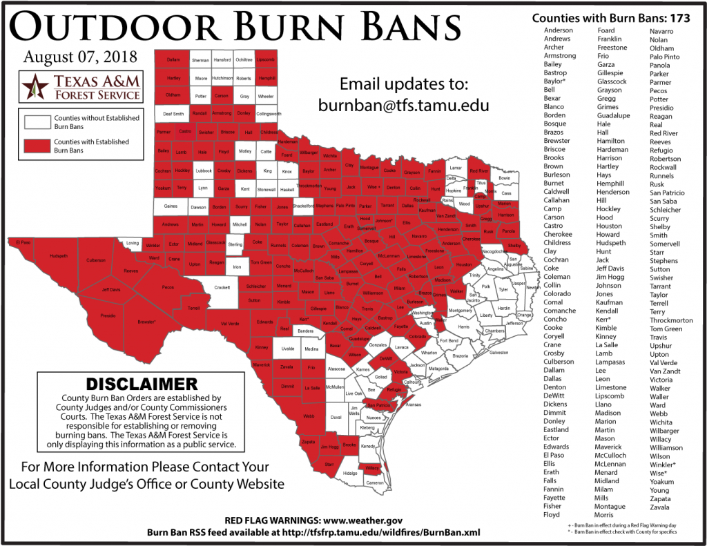 Texas Forest Service Burn Ban Map – Easttexasradio - Burn Ban Map Of Texas